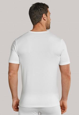 T-shirt à manches courtes blanc avec col V - 95/5