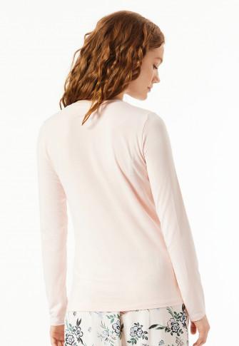 Tee-shirt manches longues modal encolure en V rose pâle - Mix+Relax