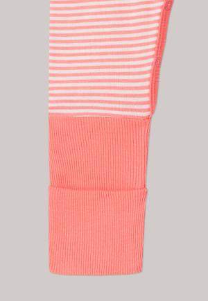 Pyjama bébé long bambou bords-côtes variables rayures pomme ver de terre corail/blanc naturel - Natural Love