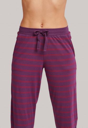 Lounge pants rib cuffs stripes plum - Mix+Relax