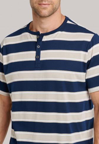 Pajamas short Serafino collar block stripes beige - Timeless