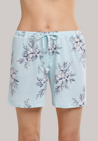 Short pajamas with lace floral print cream - Feminine Floral