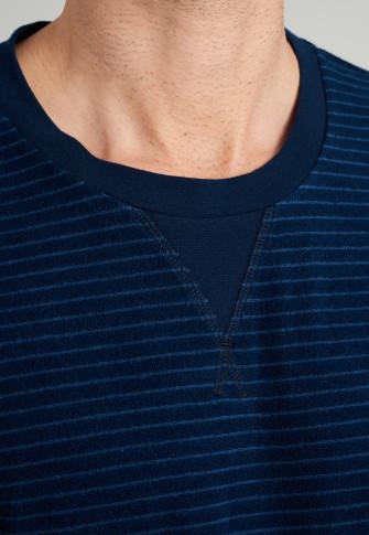 Pajamas long terry cuffs stripes midnight blue - Warming Nightwear