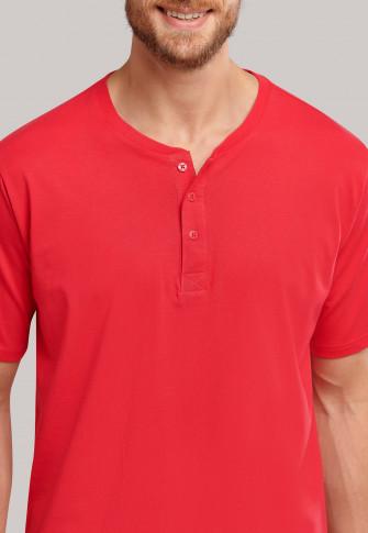Shirt kurzarm Jersey Knopfleiste hellrot - Mix+Relax